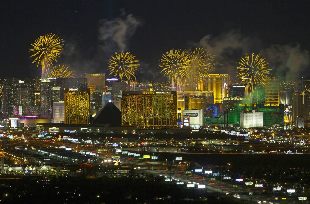 New Year's fireworks explode over the Las Vegas Strip ringing in 2019. Richard Brian Las Vegas Review-Journal @vegasphotograph