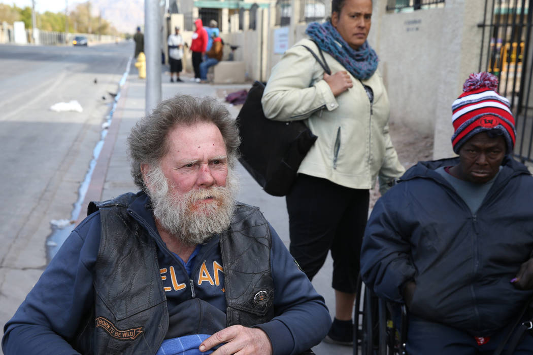 Joe Bridges, 59, talks to a reporter on Foremaster Lane near Las Vegas Boulevard Wednesday, Nov. 28, 2018. Looking on are Sonja Nissen, rear, and Rondelle Terrette, 52. K.M. Cannon Las Vegas Revie ...