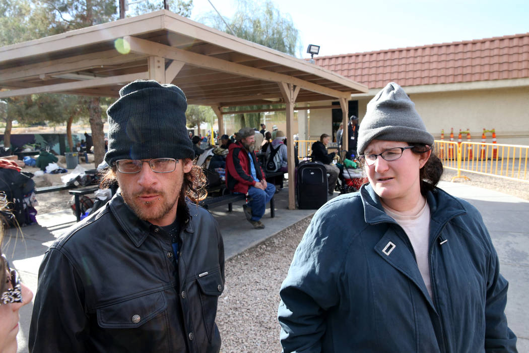 """Buddy """"Dizzy"""" Byrge, 34, and his wife Krystal Wharton, 26, talk to a reporter in Corridor of Hope homeless courtyard on Foremaster Lane at Las Vegas Boulevard Wednesday, Nov. 28, 2018. K ..."""