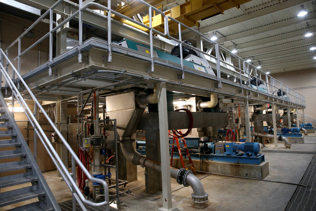 The centrifuge room at the City of North Las Vegas Water Reclamation Facility Friday, Nov. 30, 2018. K.M. Cannon Las Vegas Review-Journal @KMCannonPhoto