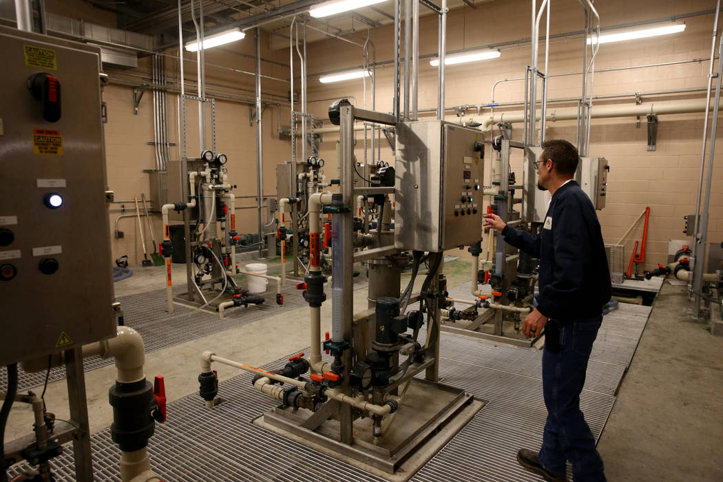 Alan Wolfley, a Grade 3 operator at the City of North Las Vegas Water Reclamation Facility, checks the polymer dilution unit Friday, Nov. 30, 2018. K.M. Cannon Las Vegas Review-Journal @KMCannonPhoto