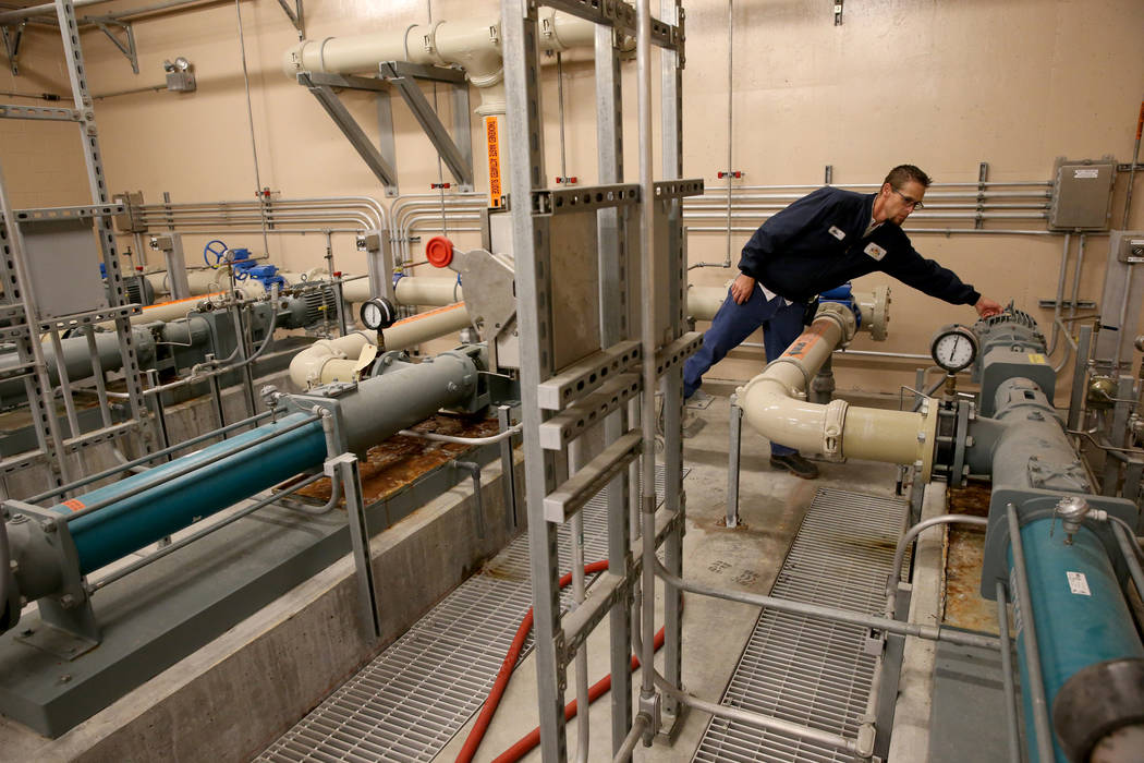 Alan Wolfley, a Grade 3 operator checks the centrifuge feed pumps at the City of North Las Vegas Water Reclamation Facility, checks a system Friday, Nov. 30, 2018. K.M. Cannon Las Vegas Review-Jou ...