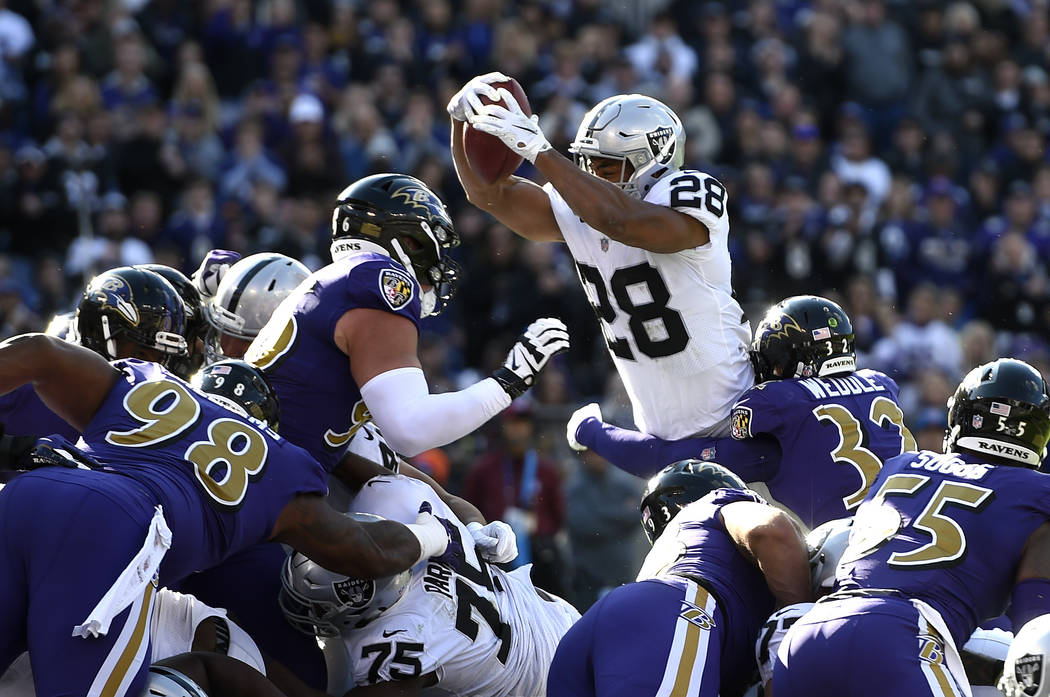 Oakland Raiders running back Doug Martin (28) pushes into the end zone for a touchdown in the first half of an NFL football game against the Baltimore Ravens, Sunday, Nov. 25, 2018, in Baltimore. ...