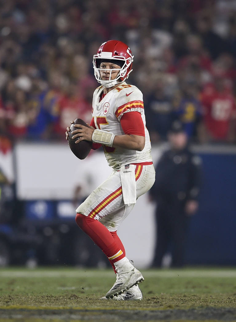 Kansas City Chiefs quarterback Patrick Mahomes in action during the second half of an NFL football game against the Los Angeles Rams, Monday, Nov. 19, 2018, in Los Angeles. (AP Photo/Kelvin Kuo)