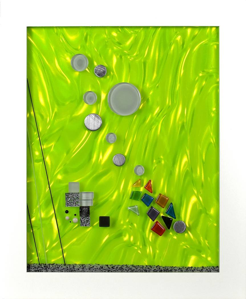 """Manfred Peter O'Hare, The Green Milieu, silver metallic paper, green lenticular lens, glass rods, glass micro beads, metal and glass elements, 11"""" x 14"""" x ½"""", 2018. (CSN Art & Art History ..."""