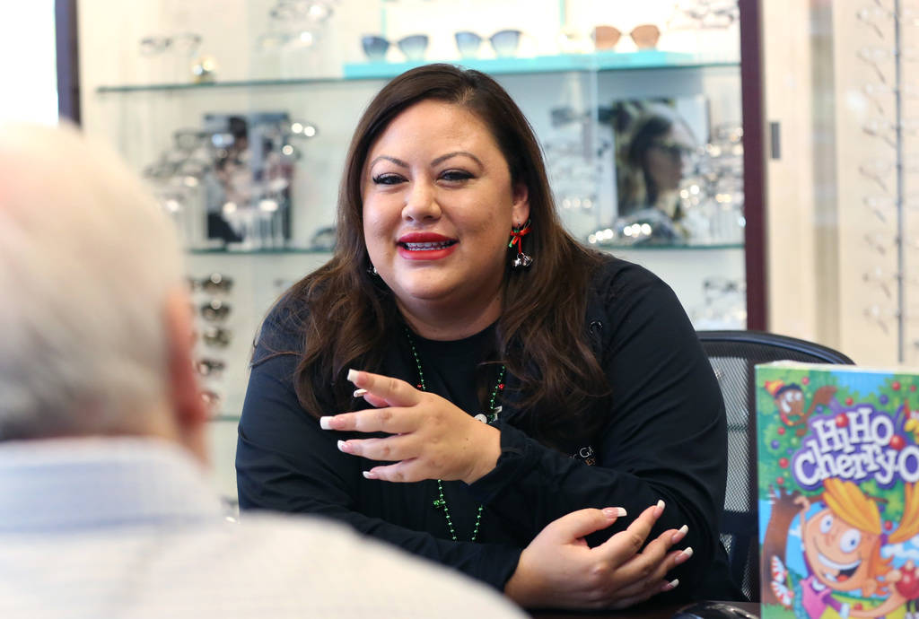 Perla Gumm, office manager at Optic Gallery, speaks during an interview with the Las Vegas Review -Journal on Wednesday, Nov. 28, 2019, in Las Vegas. Gumm has spent the past few years collecting t ...