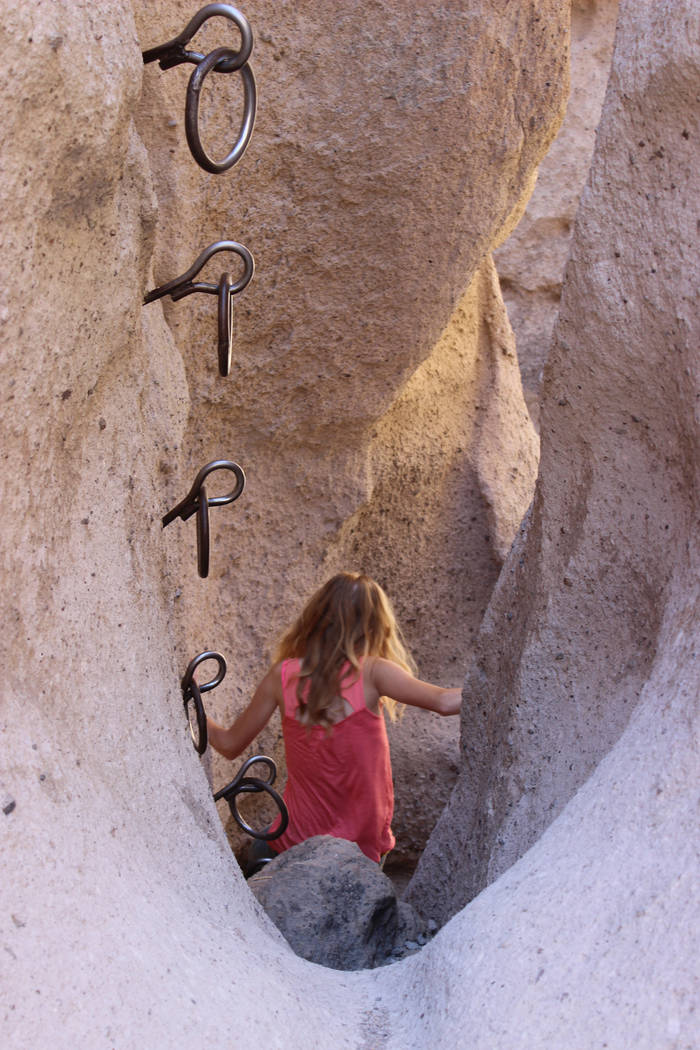 The Bureau of Land Management installed these ringbolts more than 35 years ago to aid hikers traveling through the canyon. (Deborah Wall/Las Vegas Review-Journal)