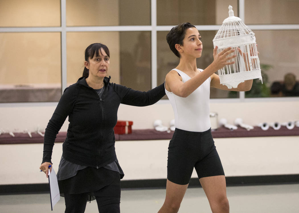 "Repertoire Tara Foy works with Julian during rehearsal of a scene in the ""Nutcracker"" at the Nevada Ballet Theatre on Friday. Richard Brian Las Vegas Review-Journal @vegasphotograph"