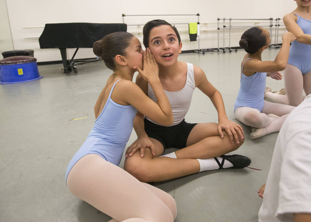 "Camilla and Julian chat briefly during a break at the rehearsal for the ""Nutcracker"" at the Nevada Ballet Theatre on Friday, Nov. 30, 2018. Richard Brian Las Vegas Review-Journal @vegasphotograph"