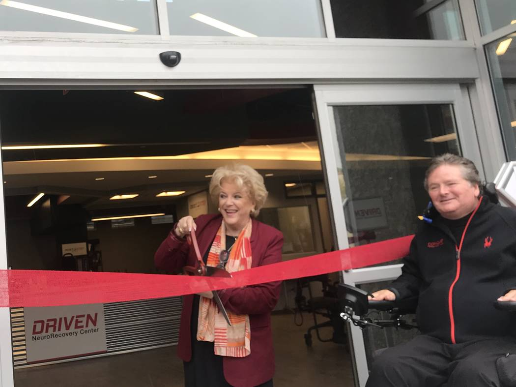 Las Vegas Mayor Carolyn Goodman cuts a ribbon marking the opening of Sam Schmidt's DRIVEN NeuroRecovery Center in Las Vegas on Thursday, Nov. 29, 2018. (Jessie Bekker/ Las Vegas Review-Journal)