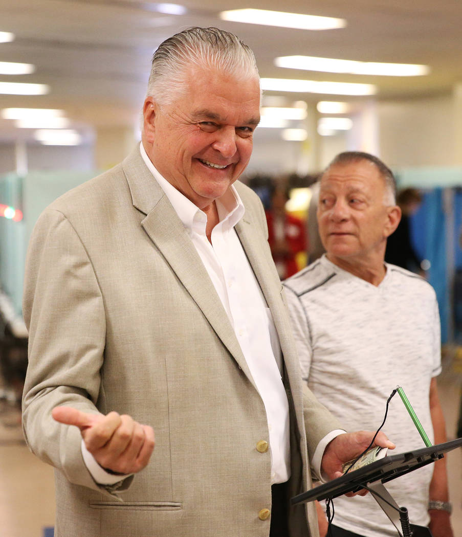 Steve Sisolak, Democratic candidate for Nevada governor, waits to be processed to vote at Kenny Guinn Middle School in Las Vegas, Tuesday, Nov. 6, 2018. Erik Verduzco Las Vegas Review-Journal @Eri ...