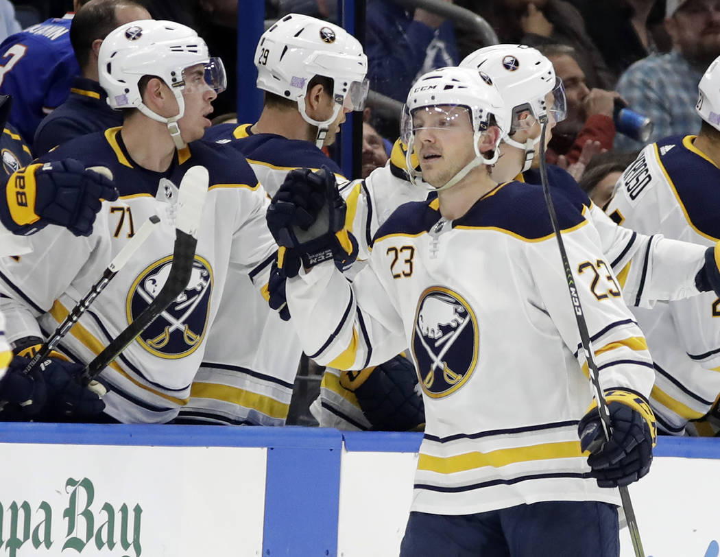Buffalo Sabres center Sam Reinhart (23) celebrates his goal against the Tampa Bay Lightning during the second period of an NHL hockey game Thursday, Nov. 29, 2018, in Tampa, Fla. (AP Photo/Chris O ...