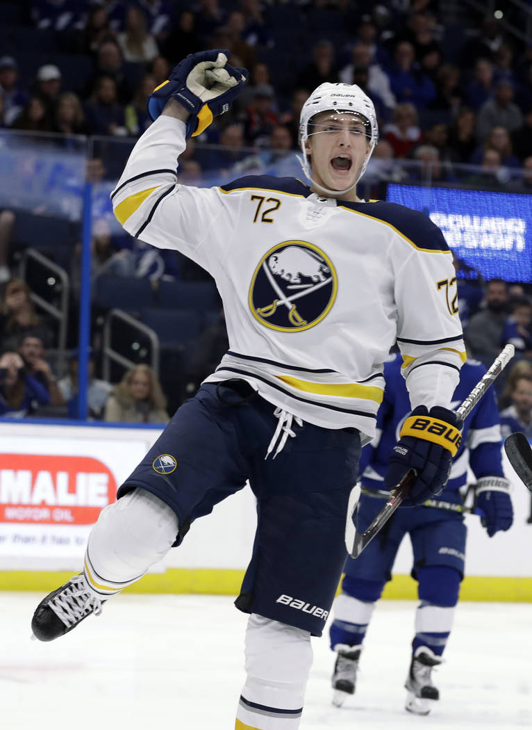 Buffalo Sabres right wing Tage Thompson celebrates his goal against the Tampa Bay Lightning during the third period of an NHL hockey game Thursday, Nov. 29, 2018, in Tampa, Fla. (AP Photo/Chris O' ...