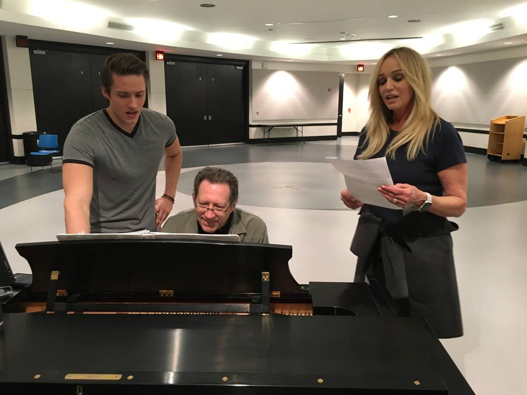 James D. Gish and Susan Anton, with pianist Joey Singer, rehearse for Gish's upcoming holiday concerts. (John PrzybysLas Vegas Review-Journal)