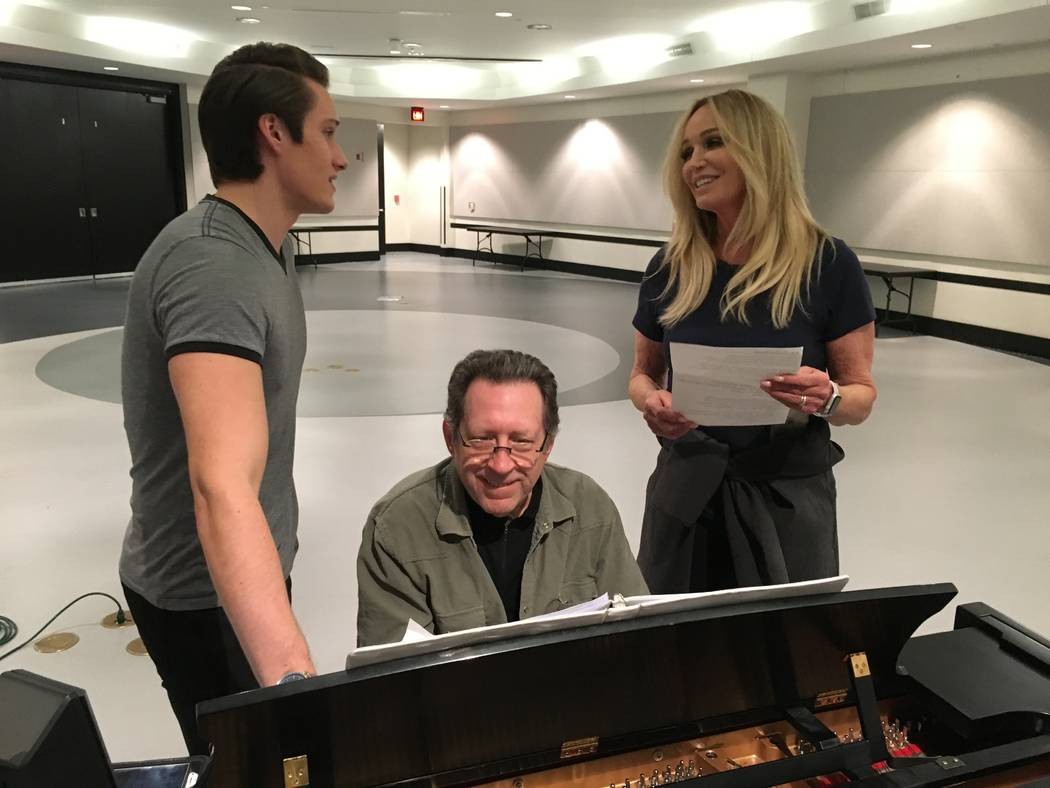 James D. Gish and Susan Anton, with pianist Joey Singer, rehearse for Gish's upcoming holiday concerts. (John Przybys Las Vegas Review-Journal)