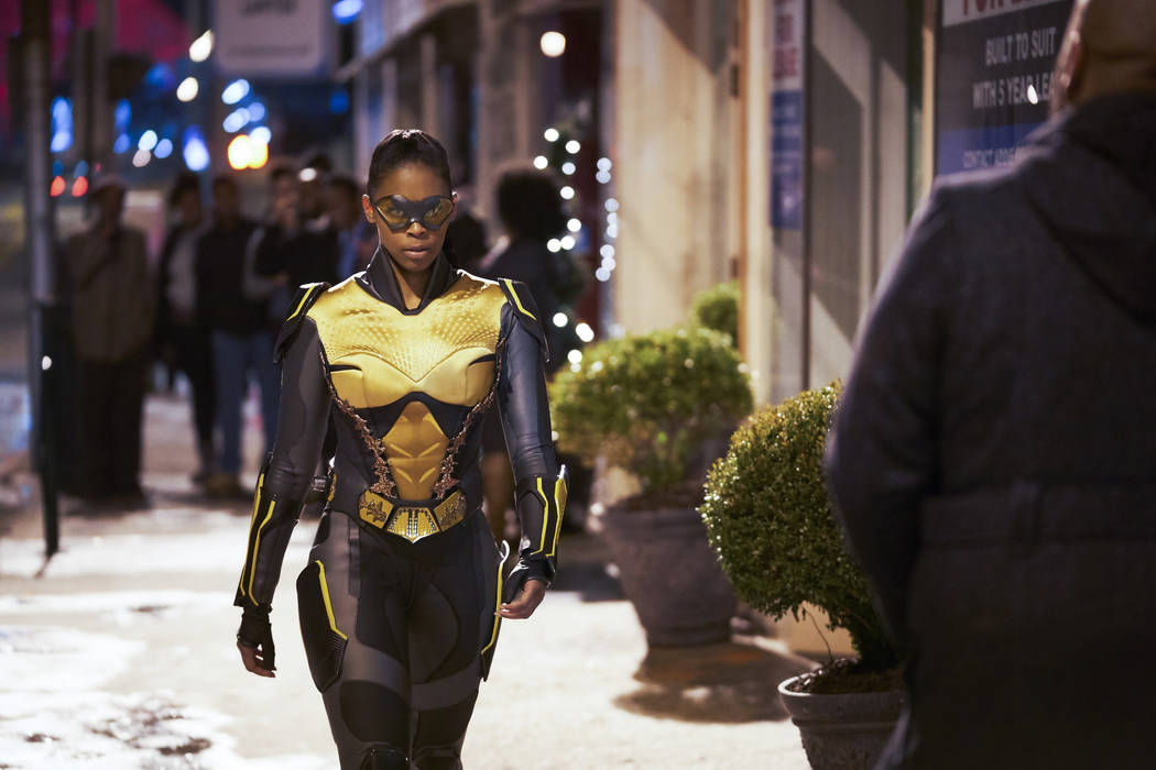 """Black Lightning -- """"Black Jesus: The Book of CrucifixionÓ -- Image BLK111A_0078b -- Pictured: Nafessa Williams as Thunder -- Photo: Bob Mahoney/The CW -- © 2018 The CW Network, LLC. All rights r ..."""