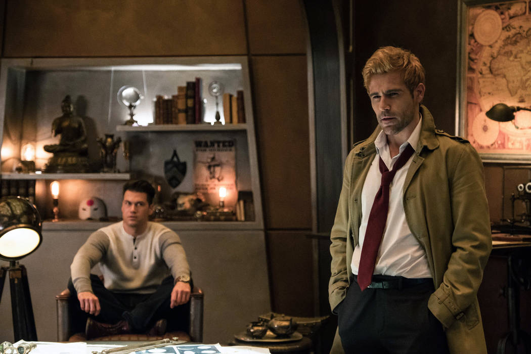 """DC's Legends of Tomorrow -- """"Daddy Darhkest"""" -- Image Number: LGN310a_0453b.jpg -- Pictured (L-R): Nick Zano as Nate Heywood/Steel and Matt Ryan as Constantine -- Photo: Jeff Weddell/The CW -- © ..."""