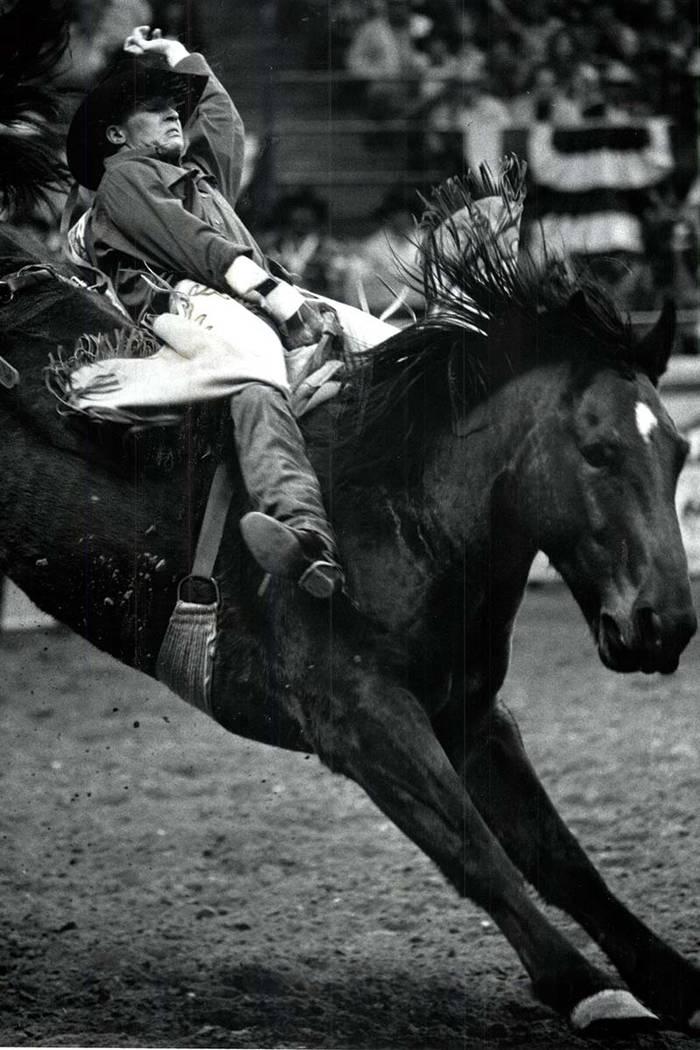 Ty Murray rides bareback, November 4, 1990. (Wayne Kodey/Las Vegas Review-Journal)