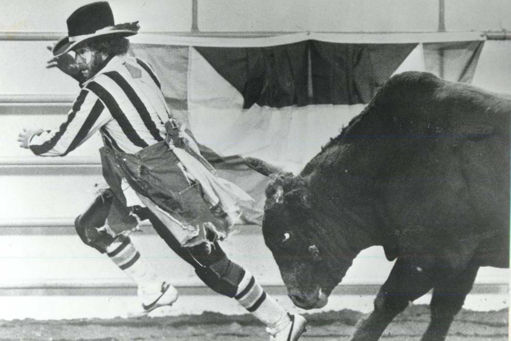 Clown dodges a bull at the National Finals Rodeo in 1985. (File Photo/Las Vegas Review-Journal)