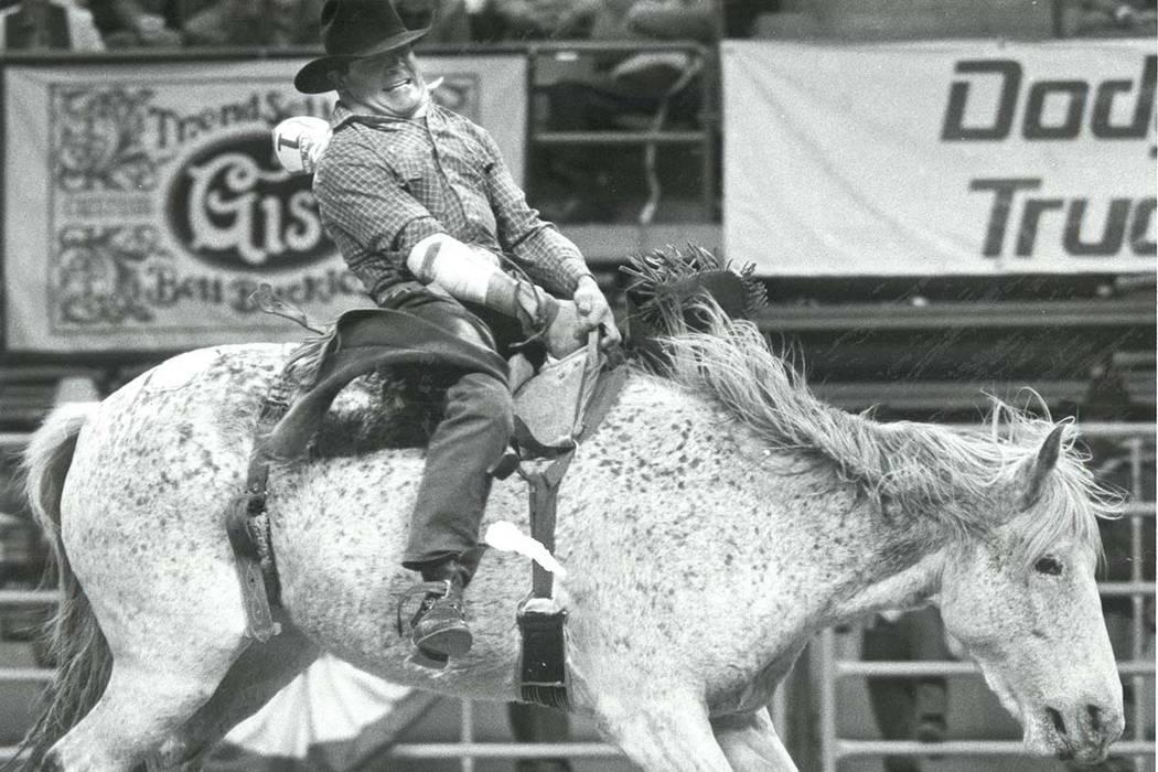 J.C. Trujillo competes in Bareback Riding at NFR on December 10, 1985. (Wayne Kodey/Las Vegas Review-Journal)