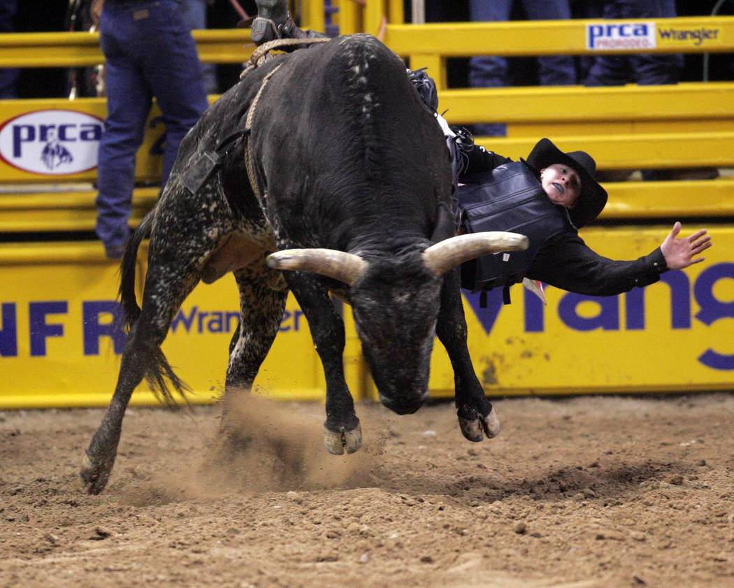 Cody Buller of Glendive, Mont., rides Roan Wolf to a score of 72 to take fourth in the first go-around of the 2004 Wrangler National Finals Rodeo at the Thomas & Mack Center Friday, Dec. 3, 2004. ...