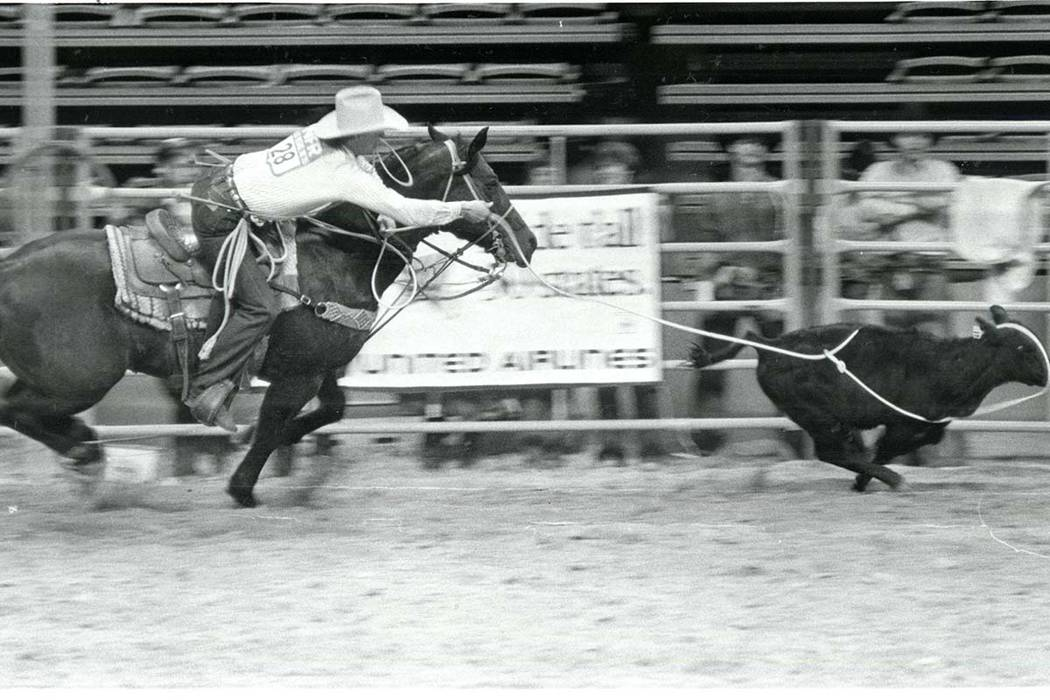 Cliff Williamson competes in Calf Roping at the NFR on December 10, 1985. (Scott Henry/Las Vegas Review-Journal)