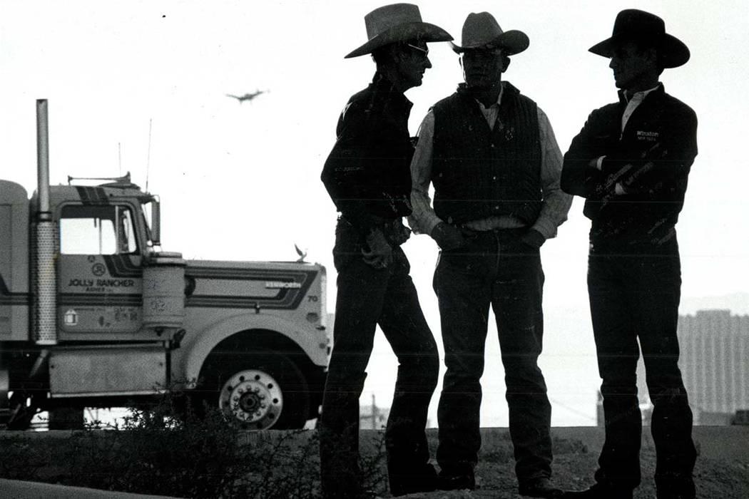 John Farris, Addingtron, OK, Fred Dorencamp, Holly, CO, John Walter, Kirksville MO. at NFR on December 4, 1985. (Wayne Kodey/Las Vegas Review-Journal)