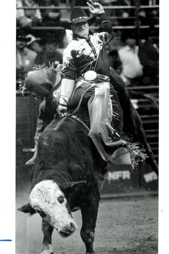 Bobby del Vecchio, the Bronx Bull Rider at NFR in Las Vegas on December 10, 1985. (Wayne Kodey/Las Vegas Review-Journal)