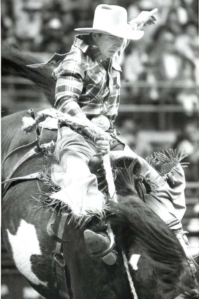 Mel Coleman competes in Saddle Bronc during the NFR, December 14, 1985. (Wayne Kodey/Las Vegas Review-Journal)