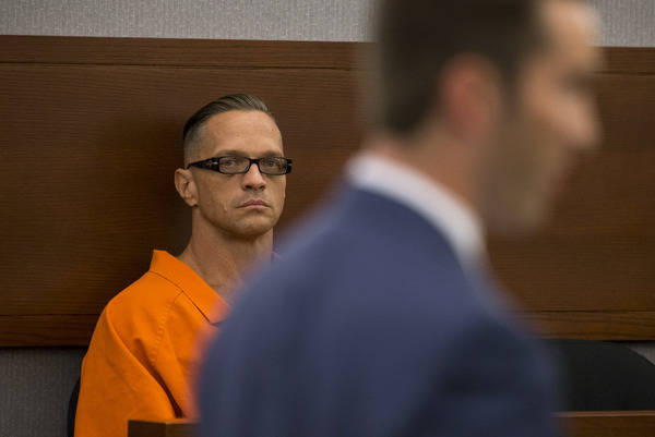 Death row inmate Scott Dozier appears before District Judge Jennifer Togliatti during a hearing about his execution at the Regional Justice Center in Las Vegas on Sept. 11, 2017. Richard Brian Las ...