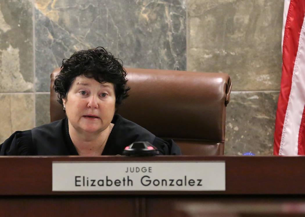 District Judge Elizabeth Gonzalez presides at the Regional Justice Center during a hearing on July 11, 2018, in Las Vegas. Drug manufacturer Alvogen filed suit in an effort to stop Nevada from usi ...