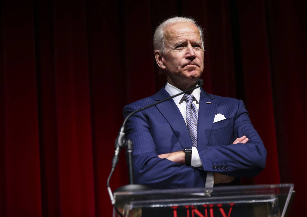 Former Vice President Joe Biden speaks during the UNLV Law Gala at the Bellagio in Las Vegas on Saturday, Dec. 1, 2018. Chase Stevens Las Vegas Review-Journal @csstevensphoto