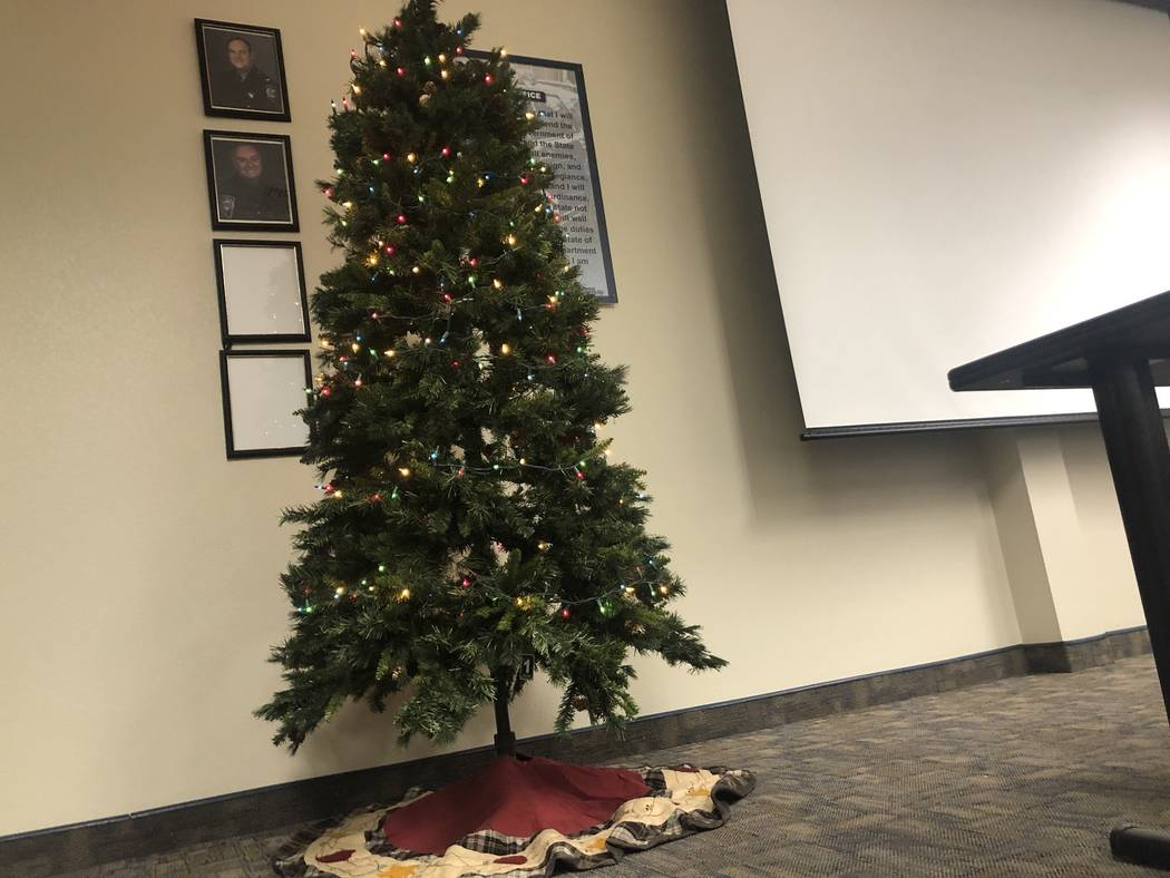 The Christmas Life Saving Tree stood in the Nevada Highway Patrol southern command's briefing room late Friday, November 30, 2018. Throughout December, troopers will add an ornament to the tree ev ...