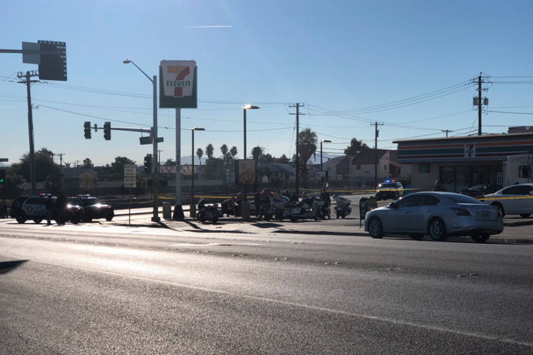 There is a heavy Las Vegas police presence Saturday morning near the downtown area. (Rio Lacanlale/Las Vegas Review-Journal)