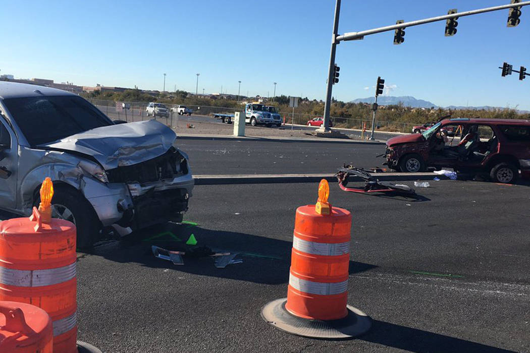 Two people were hospitalized Saturday morning in critical condition following a crash in North Las Vegas. (North Las Vegas Police Department/@NLVPD/Twitter)