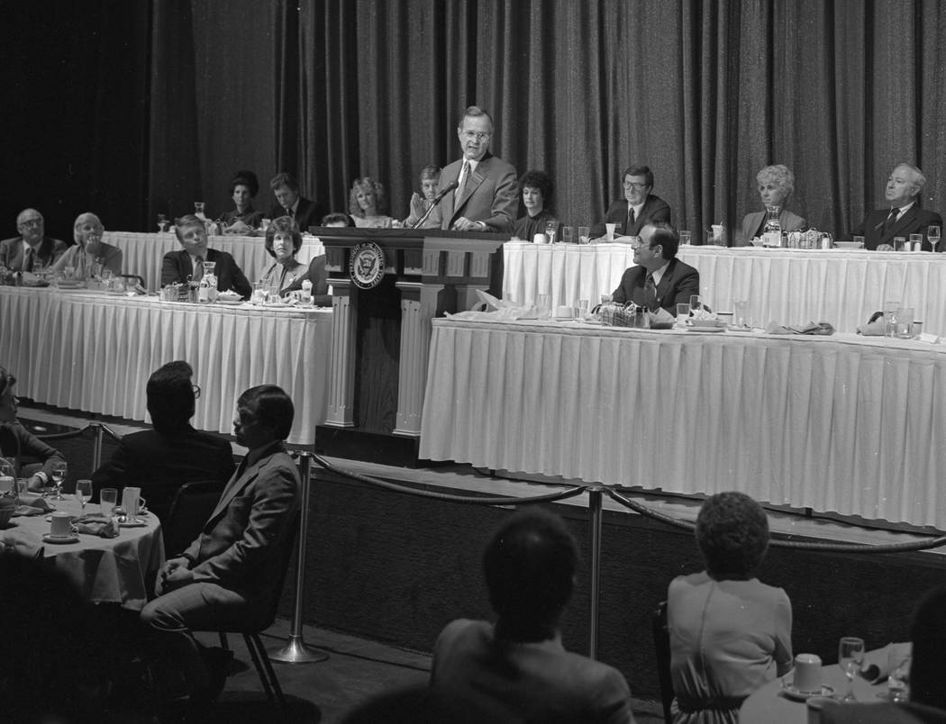 U.S. Vice President George Bush speaks during a luncheon at the Imperial Palace in Las Vegas October 23, 1982. CREDIT: Lee McDonald/Las Vegas News Bureau