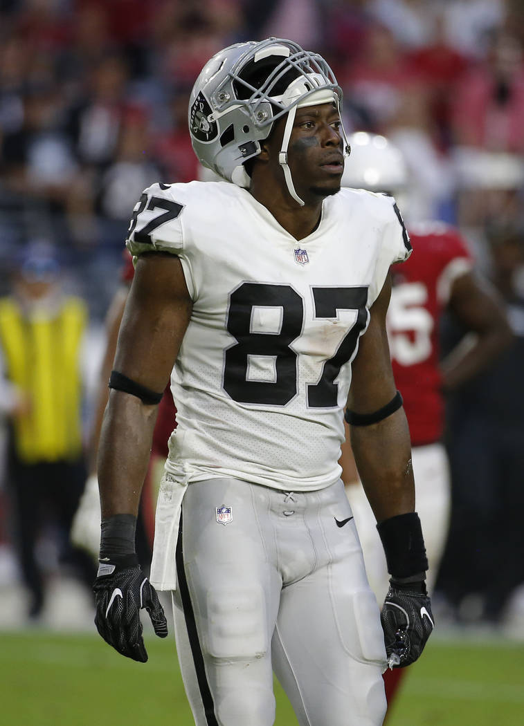 Oakland Raiders tight end Jared Cook (87) during an NFL football game against the Arizona Cardinals, Sunday, Nov. 18, 2018, in Glendale, Ariz. (AP Photo/Rick Scuteri)