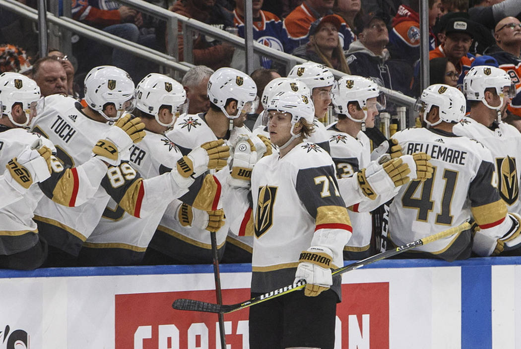 Vegas Golden Knights' William Karlsson (71) celebrates a goal against the Edmonton Oilers during the second period of an NHL hockey game Saturday, Dec. 1, 2018, in Edmonton, Alberta. (Jason Franso ...