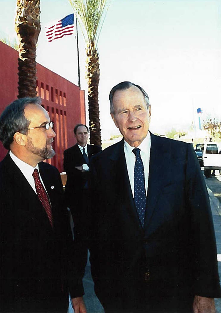 Larry Ruvo is shown with President George H.W. Bush at the Clark County Government Center during Bush's visit to Las Vegas in 2002. (Photo provided by Larry Ruvo)
