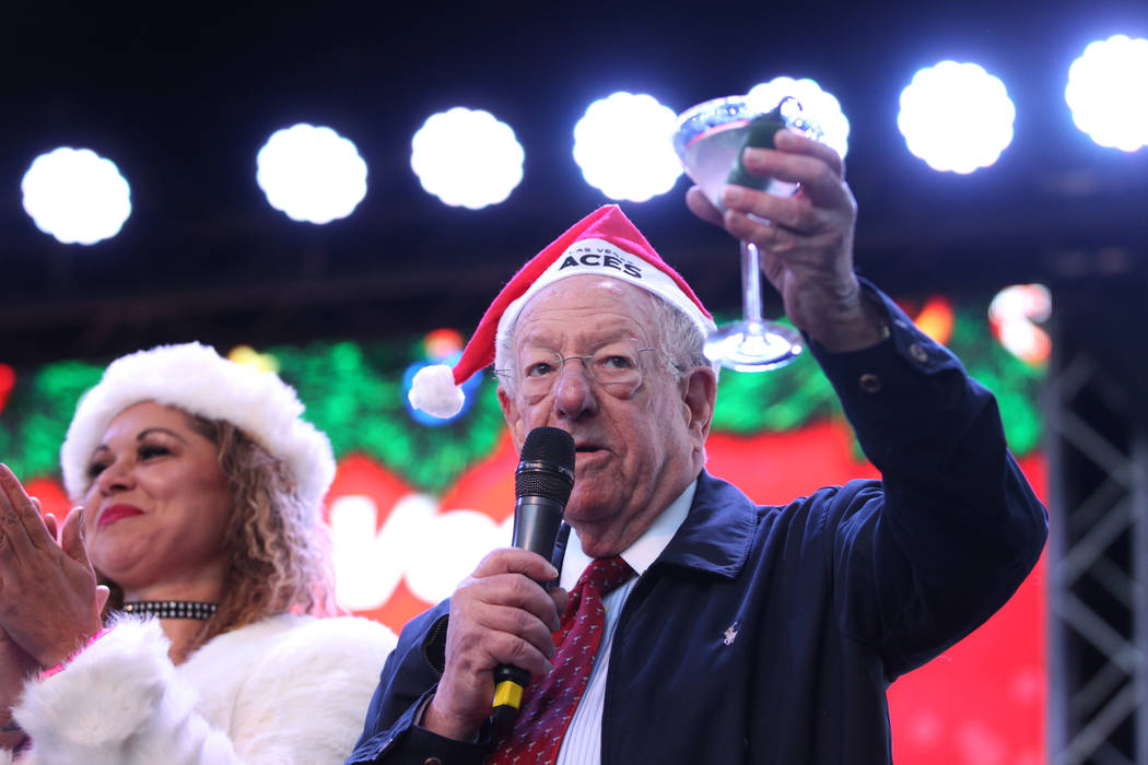 Former Las Vegas Mayor Oscar Goodman before the 14th annual Las Vegas Great Santa Run at the Fremont Street Experience 3rd Street Stage in Las Vegas, Saturday, Dec. 1, 2018. The event benefits Opp ...