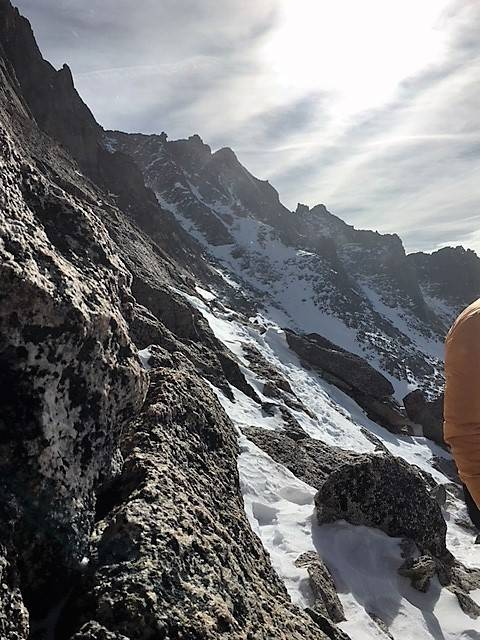 A ledge on the Keyhole Route in Rocky Mountain National Park, one of the areas search and rescue teams began looking for 20-year-old Micah Tice, on Tuesday, November 27, 2018. (Rocky Mountain Nati ...