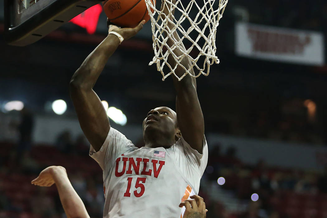 UNLV Rebels forward Cheickna Dembele (15) takes a shot against Valparaiso Crusaders during the first half of the basketball game at the Thomas & Mack Center in Las Vegas, Wednesday, Nov. 28, 2 ...