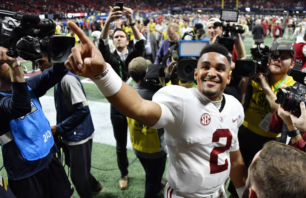 Alabama quarterback Jalen Hurts (2) speaks to fans after the Southeastern Conference championship NCAA college football game between Georgia and Alabama, Saturday, Dec. 1, 2018, in Atlanta. Alabam ...