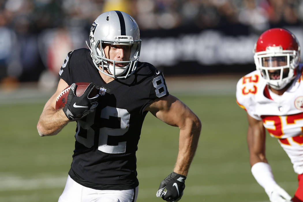 Oakland Raiders wide receiver Jordy Nelson (82) runs against the Kansas City Chiefs during the first half of an NFL football game in Oakland, Calif., Sunday, Dec. 2, 2018. (AP Photo/D. Ross Cameron)