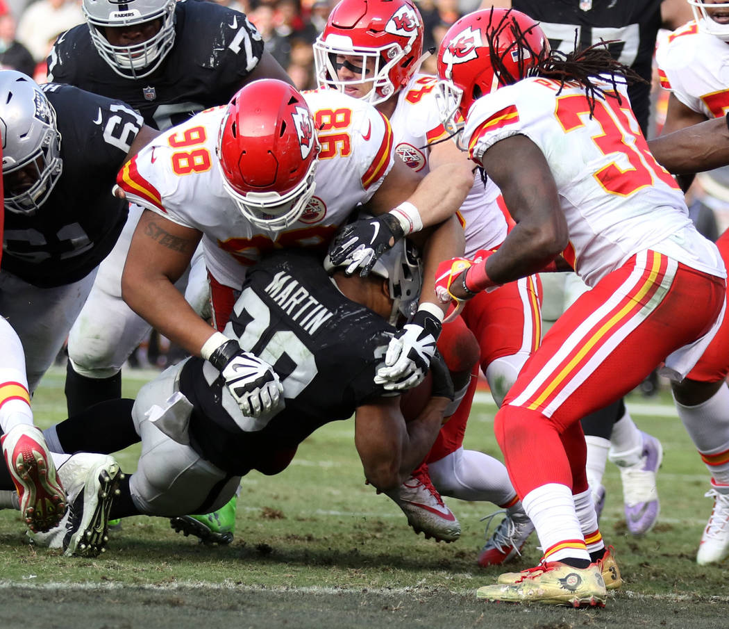 Oakland Raiders running back Doug Martin (28) falls short of the end zone and is tackled by Kansas City Chiefs nose tackle Xavier Williams (98) during the second half of an NFL game in Oakland, Ca ...