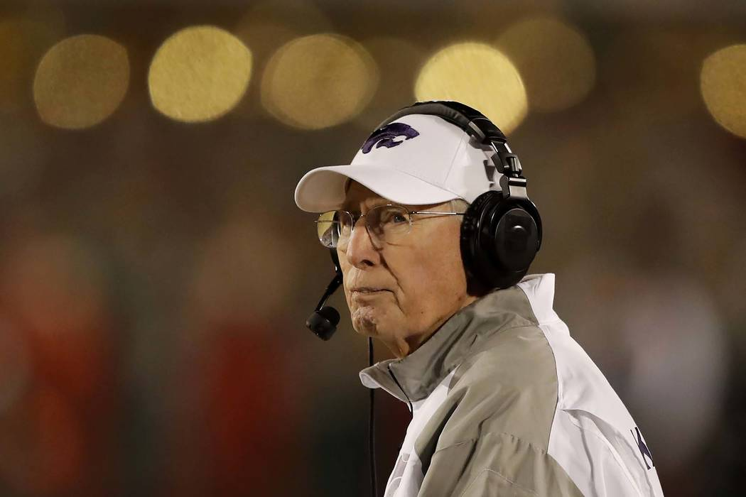 Kansas State head coach Bill Snyder watches from the sideline during the second half of an NCAA college football game against Iowa State, Saturday, Nov. 24, 2018, in Ames, Iowa. Iowa State won 42- ...