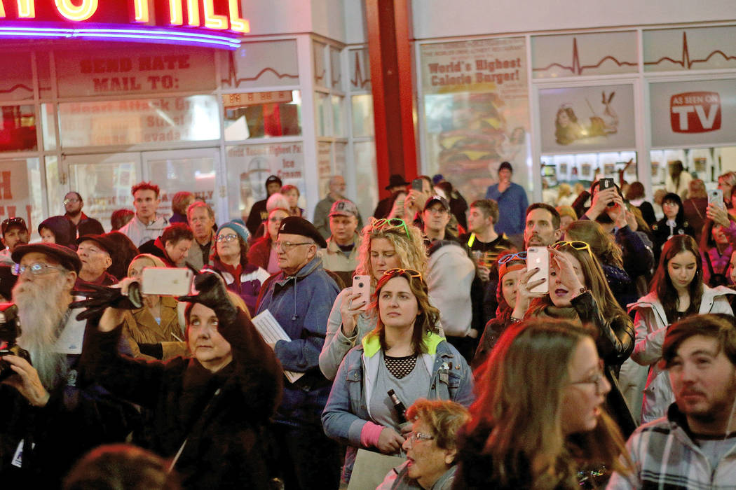 The crowd watches the Grand Menorah lighting to celebrate the first day of Hanukkah at the Fremont Street Experience in Las Vegas, Sunday, Dec. 2, 2018. Rachel Aston Las Vegas Review-Journal @rook ...