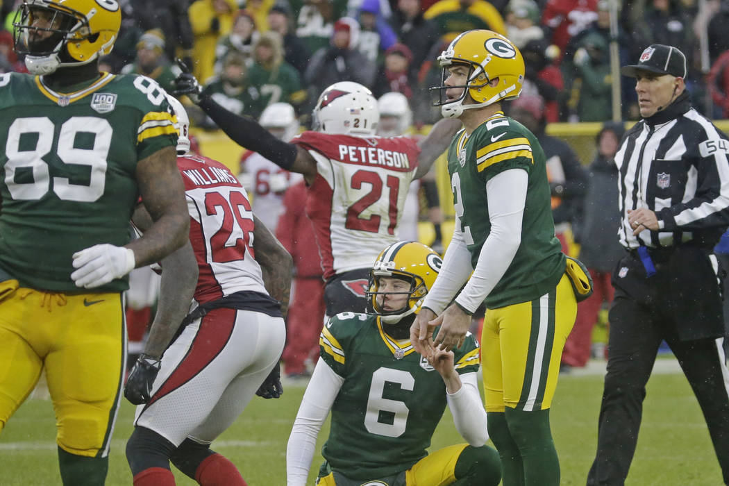 Green Bay Packers kicker Mason Crosby reacts after missing a last second field goal during the second half of an NFL football game against the Arizona Cardinals Sunday, Dec. 2, 2018, in Green Bay, ...