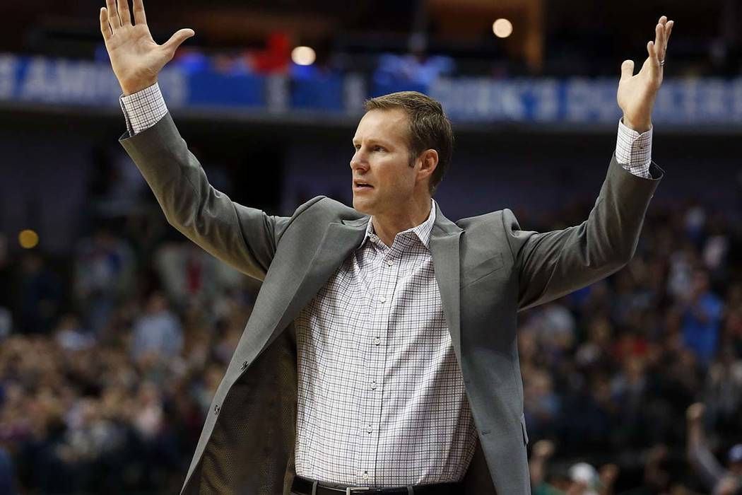 In this Oct. 22, 2018, file photo, Chicago Bulls head coach Fred Hoiberg questions a call during the second half of a game against the Dallas Mavericks, in Dallas. The Bulls fired Hoiberg Monday, ...