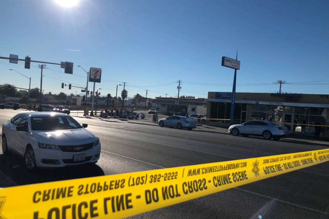 A man was shot and killed by a Las Vegas police officer near Sunrise Avenue and 18th Street on Saturday, Dec. 1, 2018. (Rio Lacanlale/Las Vegas Review-Journal)